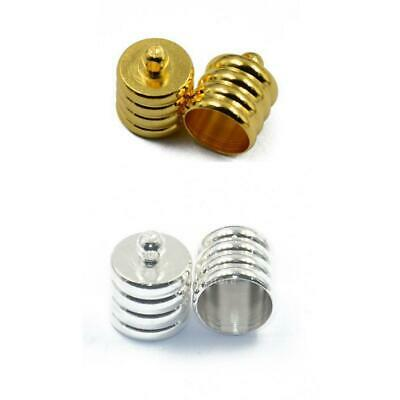 10x Ribbed End Caps Bead Stopper Fit 8mm Leather Kumihimo Cord DIY Jewelry Craft