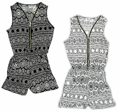 Girls Aztec Print Zip Playsuit All in One Shorts Fashion Romper 3 to 12 Years