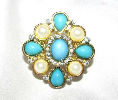 Gorgeous Aqua, Faux Pearl & Rhinestone Set Faux Pearl Stretch Band Cocktail Ring