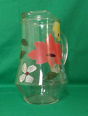 Small Clear Glass Pitcher With Hand Painted Flowers And Leaves