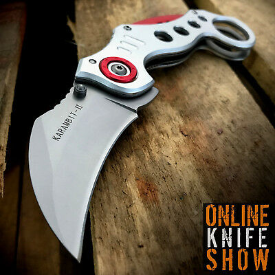 TACTICAL SILVER SPRING KARAMBIT ASSISTED POCKET KNIFE Open Folding Claw Blade