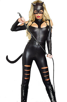 PVC Faux Leather Catfight Catwoman Catsuit  Fancy Dress Costume +Mask & Cat Tail