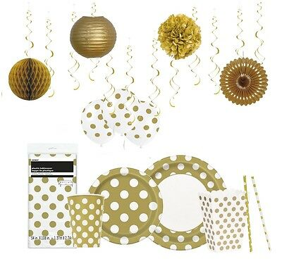 White & GOLD Polka Dots - SPOTS Party Range - Tableware Balloons & Decorations