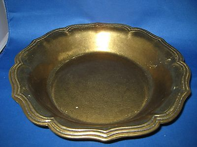 """Dia 10"""" Antique German Solid Engraved  Embossed Rim Brass Bowl Weighs 2 LBS"""