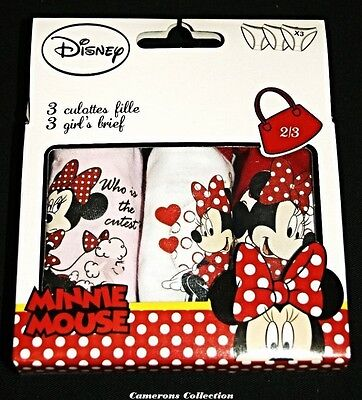 Girls & Toddler Ex-Disney 3 pairs MINNIE MOUSE Pants/Briefs Age  2/3 4/5 6/8 yrs