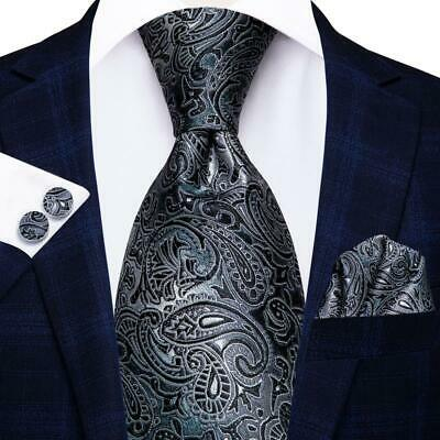 2017 Classic Paisley Black Grey Silk Men's Tie Jacquard Woven Necktie Set SN-209