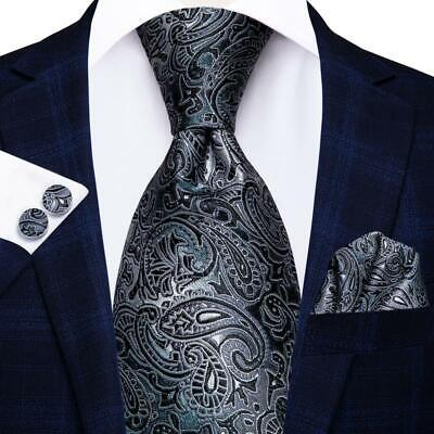 USA Classic Paisley Black Grey Silk Men's Tie Jacquard Woven Necktie Set SN-209