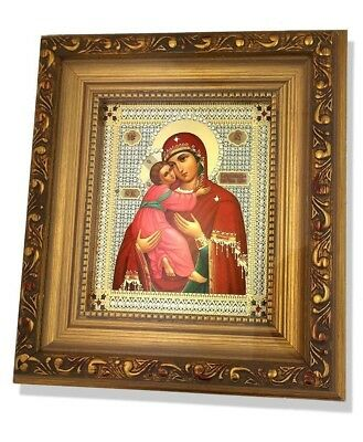 Madonna and Child Christ Framed Russian Icon Glass Wood Catholic Orthodox Gift