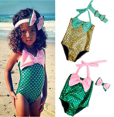Baby Kids Girls Cute Bow-knot Mermaid Bikini Swimwear Swimsuit Bathing Set 2-7Y