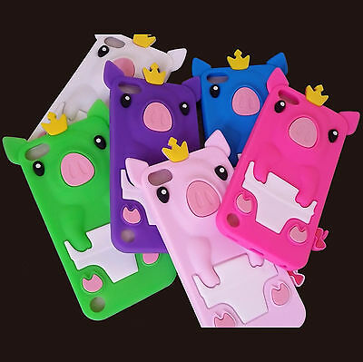 Cute Crown Pig Soft Silicone Rubber Case Cover For iPod Touch 5th / 6th Gen