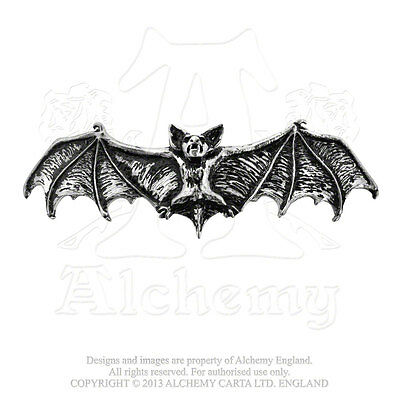 Alchemy - Darkling Bat Hair Slide - Pewter Hair Accessory