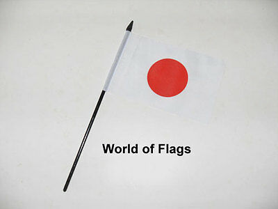 """JAPAN SMALL HAND WAVING FLAG 6"""" x 4"""" Asia Japanese Crafts Table Desk Display"""