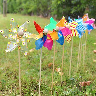 9 x DECORATIVE GARDEN WINDMILLS Flower Bed Plant Pot Ornament Art Decoration Set