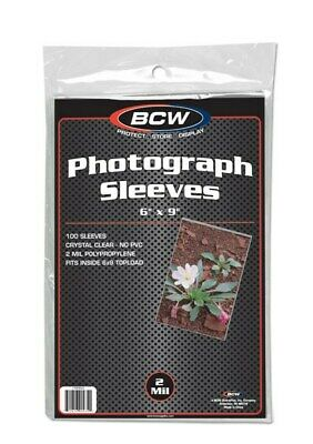 Pack of 100 BCW 6x9 Photo 2 mil Soft Poly Sleeves protectors 6 x 9 sheets covers