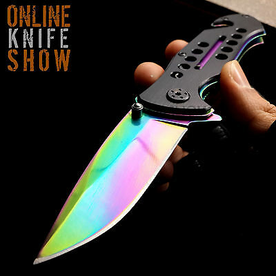 RAINBOW SPRING ASSISTED TACTICAL FOLDING KNIFE Blade Open Pocket RESCUE COMBAT