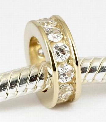 SOLID 9CT 9K GOLD Eternity Spacer BEAD with 12 CZ For Charm Bracelet / Necklace