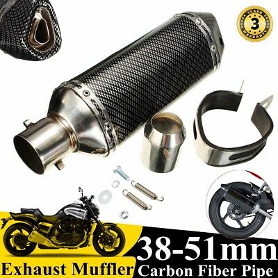 38-51MM Motorcycle Carbon Fiber Exhaust Muffler Pipe W/ Removable Silencer NEW