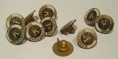 Maccabees Group of 11 Brass & Enamel button Hole Lapel Pins Threaded Post No Nut
