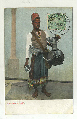 Carte Postale Ancienne Marchand De Limonade Seller Port Said Egypte 1908