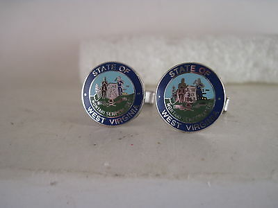 West Virginia State  cloisonne logo cufflinks