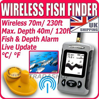 UK Wireless Sonar Fish Finder Fishfinder River Lake Sea Contour Thermometer °C°F