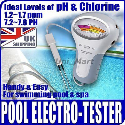 UK pH & Chlorine Cl2 Level Meter Tester Swimming Pool spa water quality monito