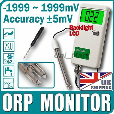 UK Rechargeable ORP Monitor Meter Water Tester AC Adapter Replaceable BNC Probe