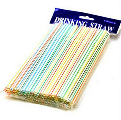 100X Flexible Straws Bendy Straws Drinking Party Kids Bendable Plastic Striped