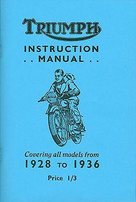Vintage Triumph Instruction Manual 1928-1936 TT St CSD CN CO NSD CTT NT ND NM WP