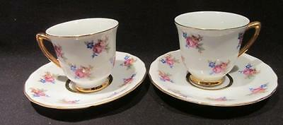 RGK Czechoslovakia Pair of Vintage Dainty Floral Demitasses & Saucers #55