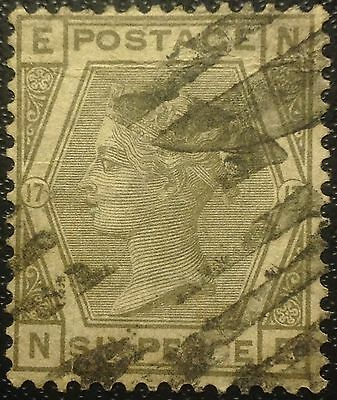 Great Britain Scott # 62   Used Stamp  Value At $150.00 Plate 17