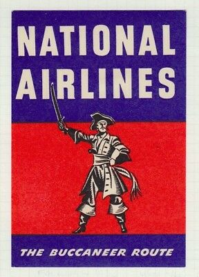 Usa National Airlines Buccaneer Route Pirate Themed Air Transport Baggage Label