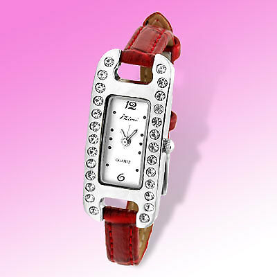 Oblong Red Slim Leather Band Quartz Women Wrist Watch