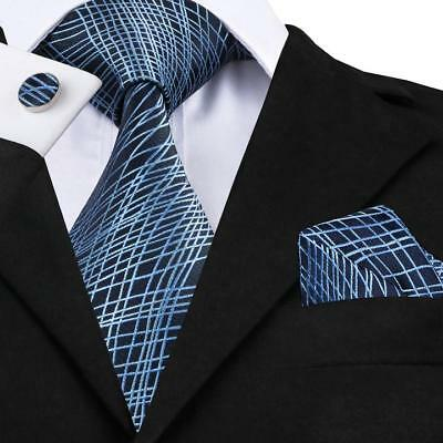 USA Classic Blue Novelty Silk Mens Hi Tie Necktie Wedding Business Set SN-1086