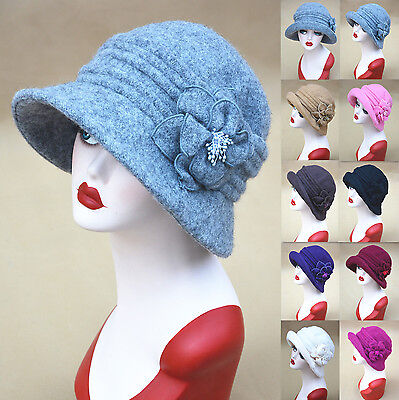 Womens Retro 1920s Winter Wool Cap Beret Beanie Cloche Bucket Hat A299