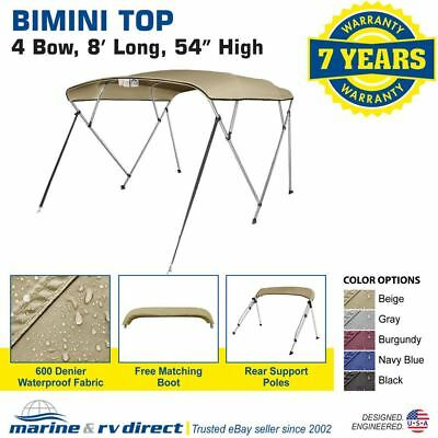 "New Bimini Top Boat Cover 4 Bow 54"" H 67"" - 72"" W 8 ft. Long Beige"