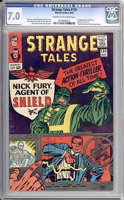 Strange Tales # 135  First Nick Fury Agent of SHIELD !  CGC 7.0 scarce book !