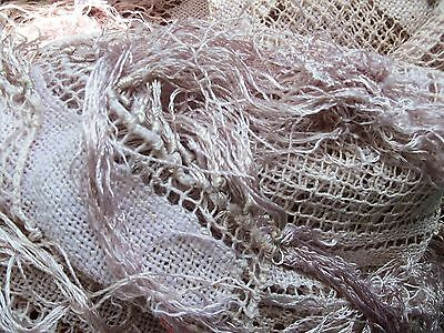 Beautiful Antique Tablecloth in hand noted filet lace very long fringe.