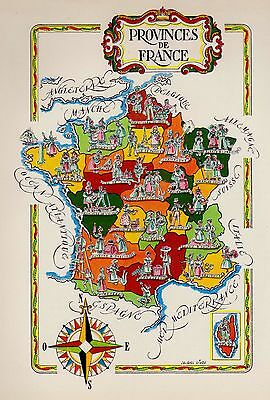 1959 Vintage FRANCE Map The PROVINCES Fun Artistic Pictorial Map Fra 2795