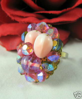 Vintage Pink Crystal Glass Beaded Ring 7.5 CAT RESCUE
