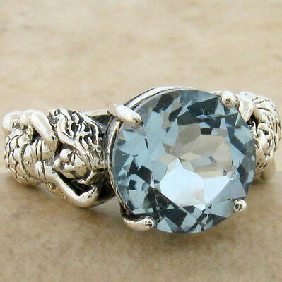 Mermaid Ring Victorian Style 925 Sterling Silver Sim Aquamarine Size 7.75,  #827