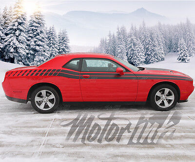 2015 2016 2017 Dodge Challenger Full Side Strobe Racing Stripes Decals Rally rt