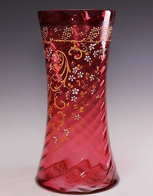 """VICTORIAN Enameled 10"""" Tall Red Glass Vase"""