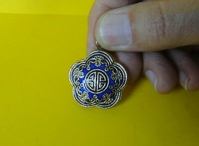 Vintage Chinese Enameled Gold Plated Silver Pendant
