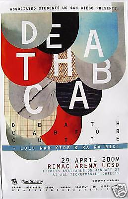 Death Cab For Cutie/cold War Kids/ra Ra Riot 2009 San Diego Concert Tour Poster