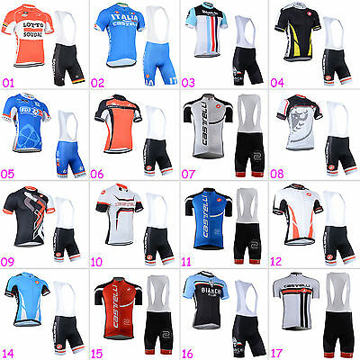 New Mens Cycling Short Sleeve Jersey Brace Tights Sets Riding Gear Tops Shorts