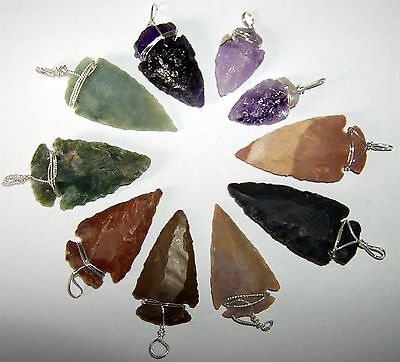 Arrowhead Pendants - Assorted Semi Precious Stones