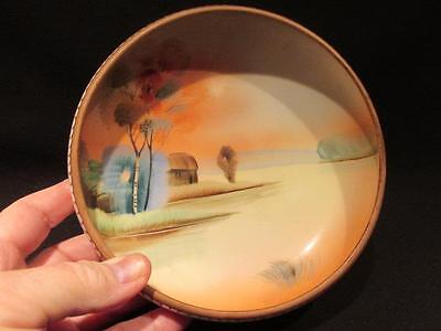 """Hand Painted Nippon Green """"M"""" Logo Beautiful Footed Bowl Sunset Scene"""