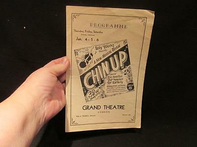 Chin Up January 4-6 Grand Theatre London Ontario Program Roly Young Revue WWII