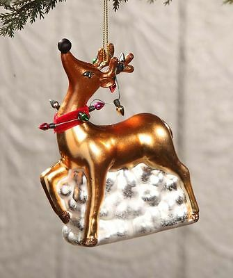 Bethany Lowe - Christmas - Glass Reindeer With Lights Ornament - DA2493